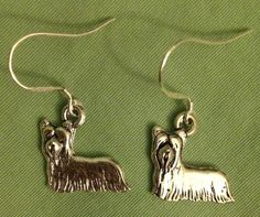 YORKSHIRE TERRIER DOG EARRINGS - Pewter with Sterling Silver Ear Wires YORKIE #Handmade #DropDangle
