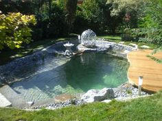 Beautiful Natural Swimming Pool Ideas For Your Home Yard 29 - Pools & Natural Swimming Ponds - Natural Swimming Ponds, Natural Pond, Swimming Pools Backyard, Swimming Pool Designs, Backyard Landscaping, Lap Pools, Indoor Pools, Pool Decks, Natural Scenery