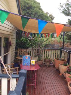 Pennant bunting Indoor Outdoor, Outdoor Decor, Rooftop Terrace, Bunting, Patio, Home Decor, Garlands, Terrace, Roof Terraces