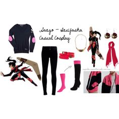 Sango - InuYasha Casual Cosplay by cupcake-curiosities on Polyvore featuring moda, Citizens of Humanity, Indigo by Clarks, Forever 21, Alexon, STELLA McCARTNEY, Kate Spade and Sango
