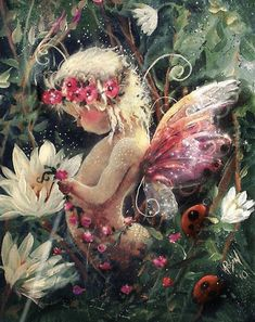 Garden fairy Pretty Print by RubysBrush on Etsy Fairy Pictures, Angel Pictures, Baby Fairy, Love Fairy, Beautiful Fairies, Angel Art, Fairy Art, Flower Fairies, Fantasy Creatures