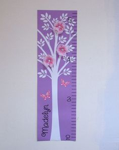 Growth Chart Children Baby Canvas Growth by onehipstickerchic Playroom Decor, Kids Decor, Growth Ruler, Baby Canvas, Personalized Growth Chart, Flower Canvas, Craft Projects, Craft Ideas, Diy Woodworking