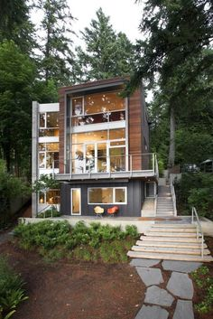 Vertical house maximizes views and nature.