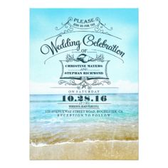 "Retro beach wedding invitations blue ombre seaside 5"" x 7"" invitation card"