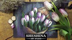 How to draw tulips with soft pastels 🎨 Sheshina Ekaterina