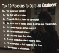Ten reasons to date an engineer.