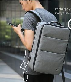 Casual Stylish Man With Gray Waterproof 17 Inches Laptop Backpack- Side View