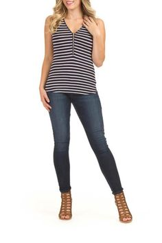 Fun navy and white stripped tank features a zipper neckline that can be adjusted for desired length. Navy Stripped Tank by Papillon. Clothing - Tops - Tees & Tanks Canada