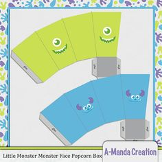 Monster Face Popcorn Boxes, perfect for setting out snacks and treats at a Mosters Inc themed birthday party or bay shower