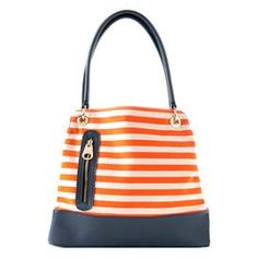 Bucket bag - Love the zipper on the front!  Construction Material: Polyurethane and canvasColor: Navy and orangeFeatures:  Double shoulder strapsTop zipper closureTwo inner compartments with snap closuresGold hardware accents Dimensions: 13 H x 15 W x 6 DCleaning and Care: Spot clean only