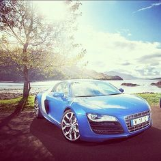 cool Sky blue Audi R8! with a very cool view!...  Luxury Car Lifestyle