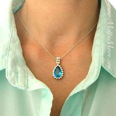 MettaMoon Blue & White Topaz Pendant Necklace www.METTAMOON.com