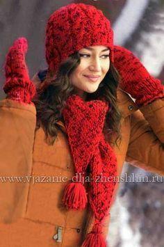Вязаные шапочка шарф и варежки спицами Knit Crochet, Crochet Hats, Rubrics, Knitted Hats, Winter Hats, Knitting, Clothes, Beautiful, Women