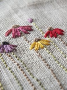 I decided to stitch myself a garden. I have no garden where I currently live, it's a perfectly lovely little unit, but there ar. The Makers Studio: .I stitch flowers. This site is a wonderful pictorial reference to basic stitches and embroidery stitches W Flower Embroidery Designs, Simple Embroidery, Hand Embroidery Stitches, Silk Ribbon Embroidery, Crewel Embroidery, Embroidery Techniques, Cross Stitch Embroidery, Embroidery Ideas, Sewing Crafts