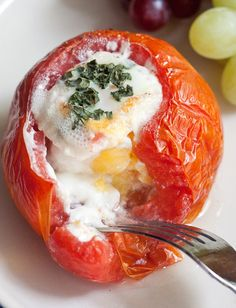 You only need 5 ingredients for this easy recipe for baked tomatoes with eggs! #myfitnesspal #vegetarian #gluten-free