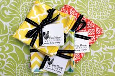 Cloth / Cotton Cocktail Napkins, the Pefect Hostess Gift! Cocktail Parties, Cocktail Napkins, Hen House, Mitered Corners, Kitchen Essentials, Hens, Hostess Gifts, Pot Holders, Ribbon