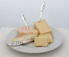 Dekoration - 3 Käsemarker, CHEESE MARKER, versilbert - ein Designerstück von theartofvariety bei DaWanda