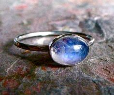 Rainbow Moonstone Sterling Silver Oval Cabochon Ring, $40