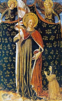 Sant'Orsola, due angeli reggicortina e la donatrice, Washington,  National Gallery of Art. 1450. Da Montefalco.