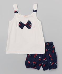 Love this White Bow Tank & Navy Cherry Shorts - Toddler on #zulily! #zulilyfinds