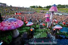 """The """"Tomorrowland Festival"""" is on eof the leading music festivals in Europe. This photo is from 2011 in Belgium. The themed stages and areas have become the festival's soaring trademark as a fun and futuristic theme park, both when it comes to the setting of the surroundings and the high-class music offered by the wide selection of live acts."""