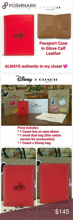 """*FINAL* Coach x Disney Passport Case in Red NEW with tag, box, dust bag, Coach x Disney bag  * Limited Edition, sold out in stores! * GUARANTEED  authentic in my closet  * Style F59411, retail $150 * Glove Calf Leather  * Color: Red outside, saddle inside  * Only 2 available in Red at time of posting!  * 4 1/8"""" x 5 1/2"""" when closed * Fits U.S. passports, if you have an int'l passport please check dimensions :) * Non-smoking home of Aurora33180  * NO offers, returning if unsold! * Sorry, no…"""