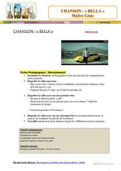 """""""BELLA"""" de Maître Gims fiche d'exercices - Fiches pédagogiques gratuites FLE"""