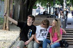 Fun with friends in Obchodna street in Bratislava.