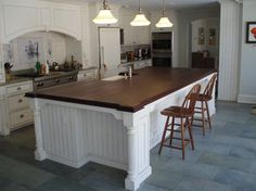 I love wood counter tops. These tops recieve our signature Hand Rubbed Marine Oil FinishTM It is 100% waterproof, stain proof, and will last for decades.  Guaranteed.