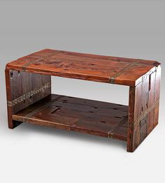 Reclaimed Wood & Metal Strapping Coffee Table by Reclaimed Redwood Studio on Scoutmob Shoppe. Galvanized metal strapping sets this rustic reclaimed redwood beauty off.