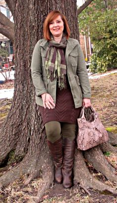 How to Make a Sweater Dress Casual.. Wanted to wear a dress to a Parent Night Out without being over dressed, styled it with a Utility Jacket and Riding boots. Over 40 Fashion Blogger