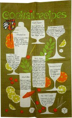 1960s Bar towel_Cocktail Recipes