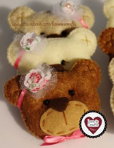 Party Favor Girl Bear /  Lembrancinha de Bebê Menina Ursa.