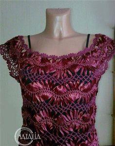 Hairpin lace top with ribbon; BELLO TEJIDO CON HILO Y CINTA
