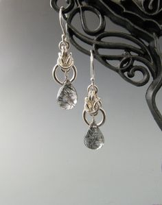 Chain Mail Earrings Byzantine Drop with by WolfstoneJewelry