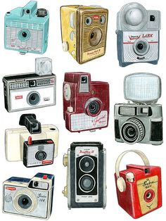 10 Cameras Drawing by Christine Berrie Illustration