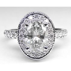 Engagement Ring - Oval Diamond Engagement Ring with double halo and... ($1,560) ❤ liked on Polyvore