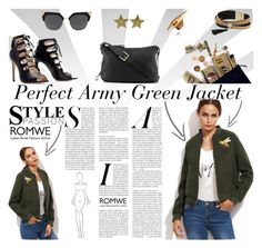 """Romwe: Army Green Jacket"" by manuelsbolli ❤ liked on Polyvore featuring Simons"