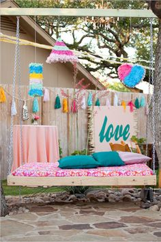 A swinging bench for a lounge at a wedding?  Love this idea!  How fun for pictures.  Could even make a great photo booth.