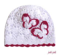 Háčkovaná čepička s motýlky   Zboží prodejce joli-joli d34e7490ef
