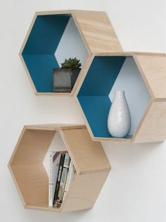 Tired of the same old drab, big box store shelves? Looking for something with more personality? DIY those wall shelves! Honeycomb Shelves, Hexagon Shelves, Diy Wall Shelves, Shelving, Wall Storage, Wood Shelves, Storage Organization, Floating Shelves, Diy Projects To Try