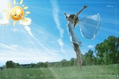 Доброе утро! (девушка и солнышко) - анимационные картинки и gif открытки
