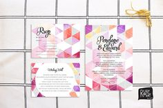 Geometric Invitation RSVP wishing well card by RubyMayDesign