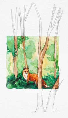 The Woods are Disappearing, original, miniature, red fox illustration by SarahLambertCook