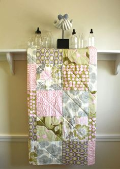 Patchwork Baby Quilt - Optic Blossom by Amy Butler - Baby Girl Blanket in Grey, Pink, Olive, and Cream. $79.00 USD, via Etsy.