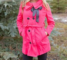 Hot Pink Winter Coat with Polka Dot Bow | andRuby