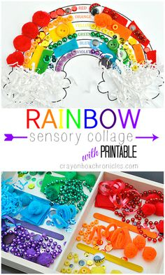 Rainbow sensory art collage with printable by Crayon Box Chronicles