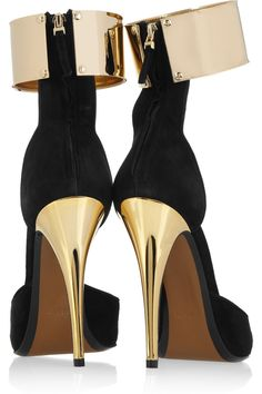 Fendi Cuffed Black & Gold Suede Pumps | LBV♥✤ | KeepSmiling | BeStayElegant ..... you COULD NOT PAY ME to wear this!