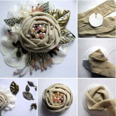 Cloth Flowers, Shabby Flowers, Burlap Flowers, Lace Flowers, Felt Flowers, Fabric Flower Brooch, Fabric Roses, Textile Jewelry, Fabric Jewelry