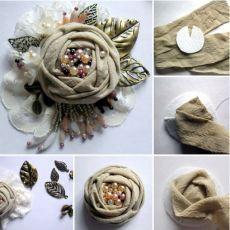 Cloth Flowers, Shabby Flowers, Burlap Flowers, Faux Flowers, Diy Flowers, Paper Flowers, Fabric Flower Brooch, Fabric Roses, Fabric Ribbon
